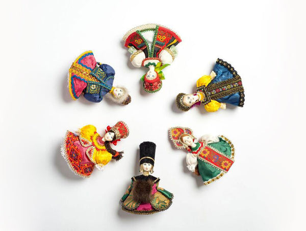 Set of Vintage Doll Ornaments in Folk Costumes