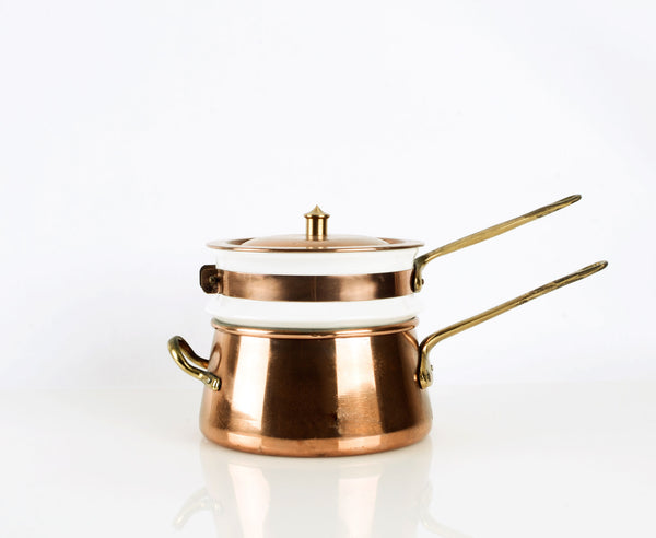 Heavy Copper and Ceramic Double Boiler with Brass Handles