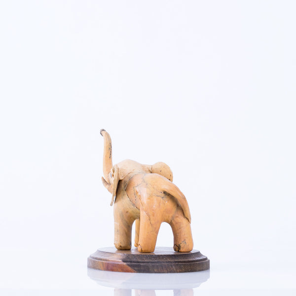 Primitive Carved Elephant on Stand