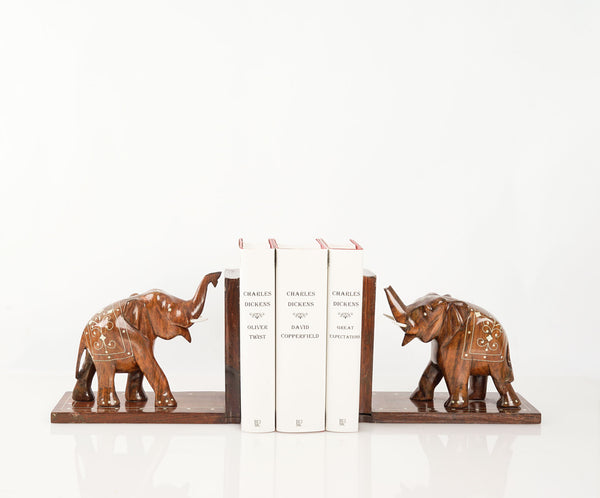 Carved Wooden Elephant Bookends Inlaid