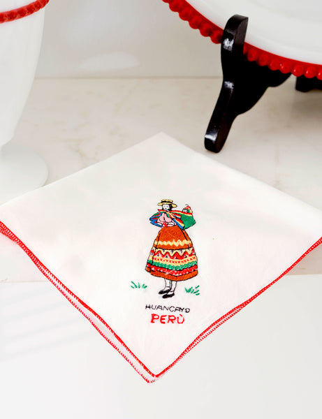 Embroidered 'Peru' Napkin