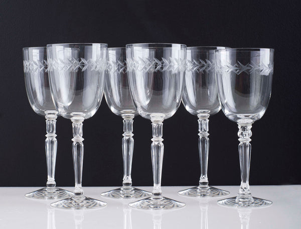 Antique Crystal Glasses with Etched Laurel Wreath