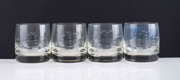 Vintage Tumblers Etched with Masted Ship