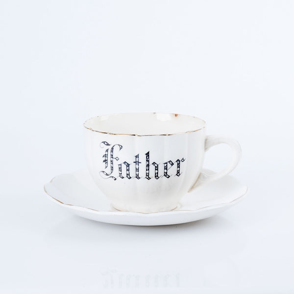 """Father"" Oversized Teacup and Saucer from the 1940s"