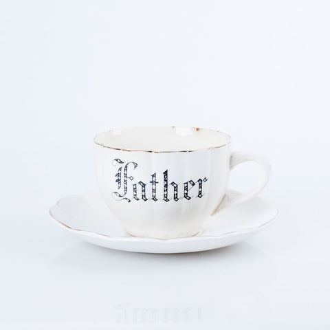 "Vintage ""Father"" Pottery Teacup & Saucer in Creamy White"