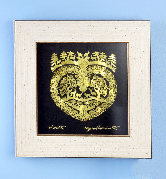 Gold Foil Scandinavian Paper Cut Art