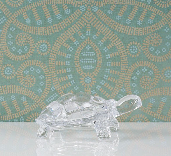 Clear Glass Turtle Paperweight