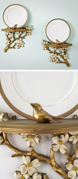 Golden Songbirds on Dogwood Brackets