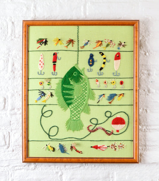 Gone Fishin' Embroidered Panel