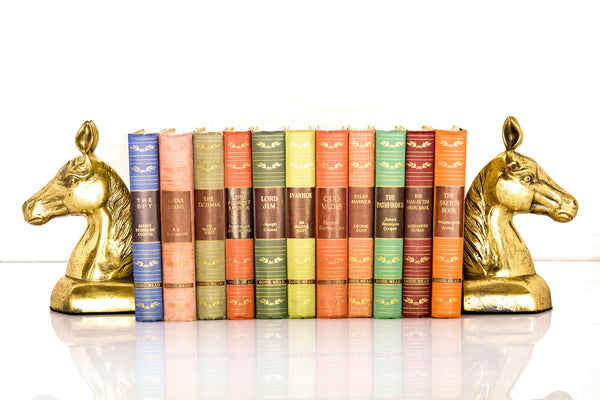 Set of Great Illustrated Classics and Horse-in-Profile Brass Bookends