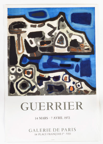 Vintage French Abstract Poster in Cobalt Blues and Soft Grays