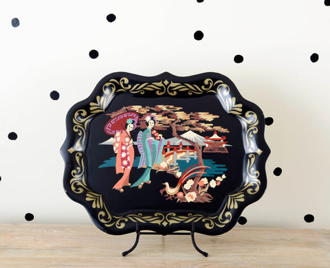 Geisha Girls on Chinoiserie Tole Serving Tray