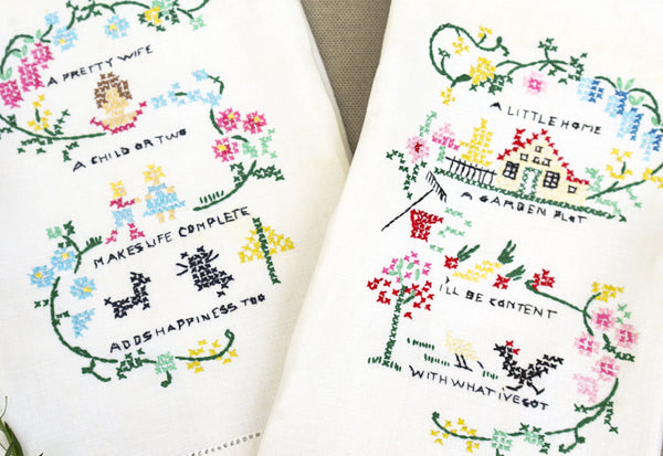 Vintage Embroidered Linen Hand Towels with Sweet Poem