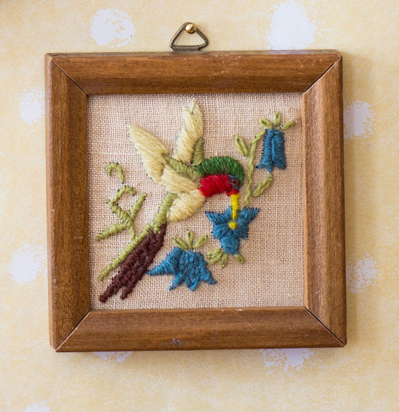 Framed Embroidery of Hummingbird