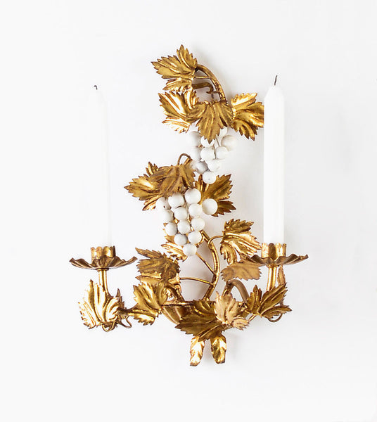 Italian Gilt Tole and Grape Wall Sconces - Hollywood Regency