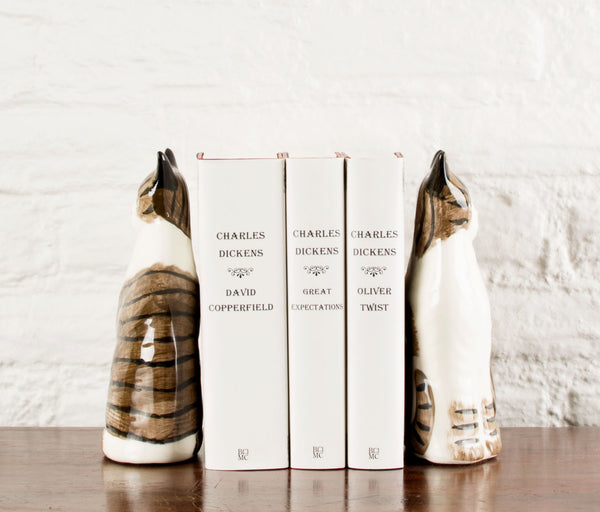Staffordshire-style Cat bookends