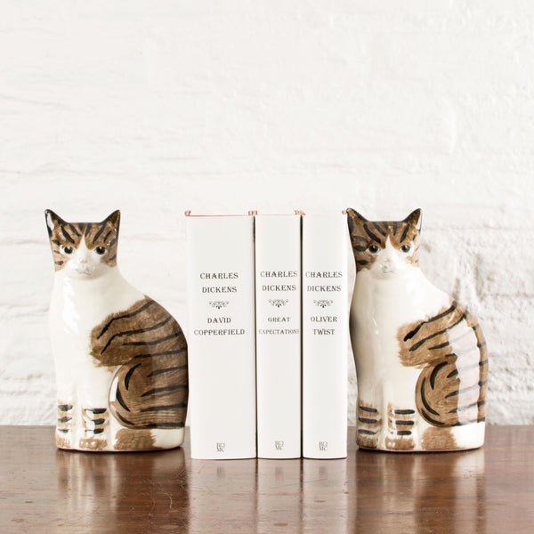 Calico Tabby Cat Bookends