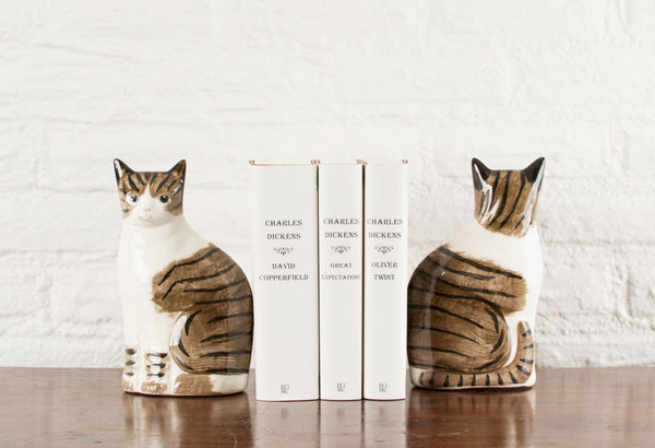 Jennifer the Cat Porcelain Bookends