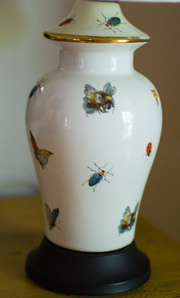 Pair of French Limoges Butterfly and Insect Lamps