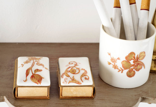 Limoges Matchboxes and Cup