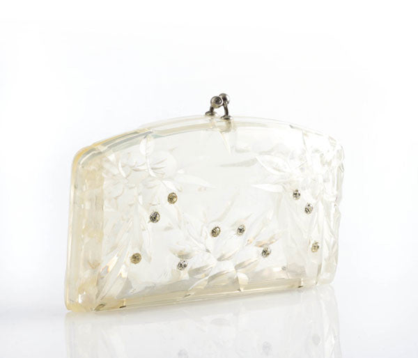 Clear Lucite Snap Evening Clutch with Rhinestones