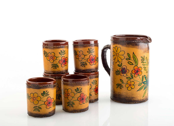 Vintage Mexican Pitcher in Handpainted Leather with Tumblers