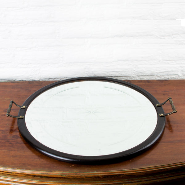Etched Mirrored Tray with Handles