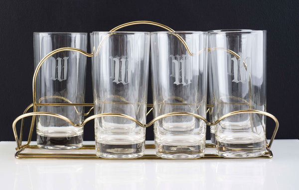 'W' Etched Highballs in Brass Caddy