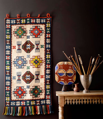 Handwoven Geometric Wall Hanging in Earthy Colors