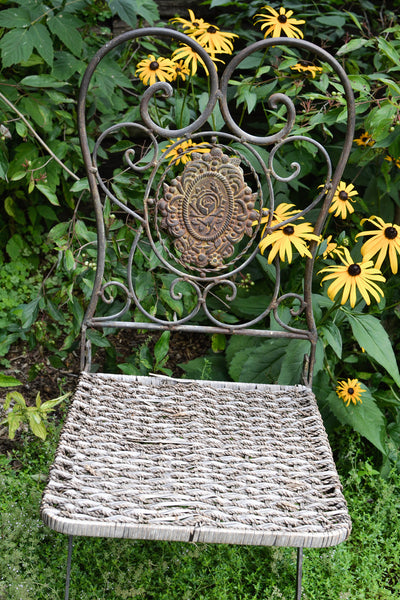 Victorian Garden Chair with Rush Seat