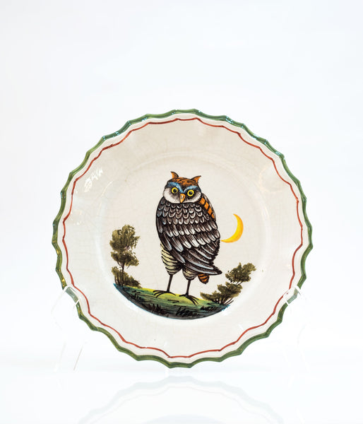 Bassano Italian Pottery Owl Plate Vintage from the 1970s