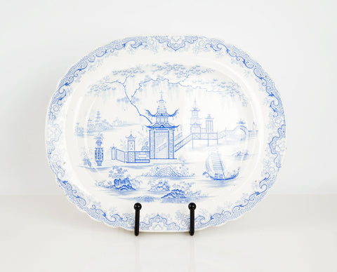 Antique Pagoda Staffordshire Platter in Blue and White