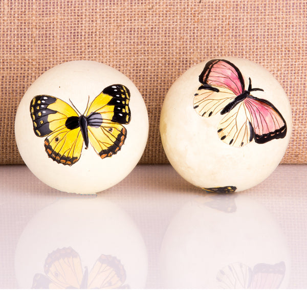 Pair Wooden Butterfly Sphere