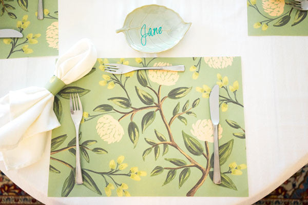 Leaf Canape Plate as Placecard