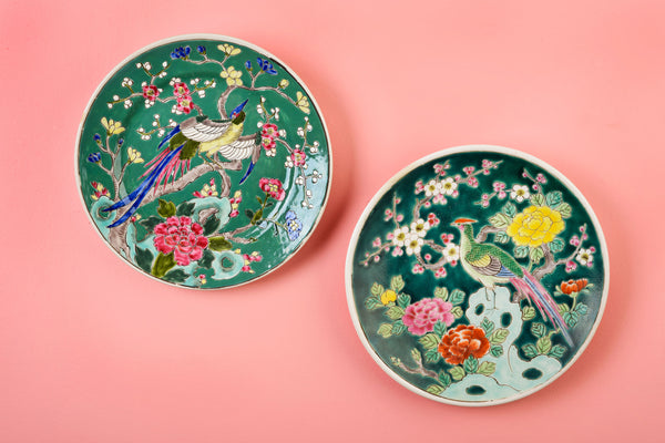 Pair of Vivid Green and Pink Polychrome Plates
