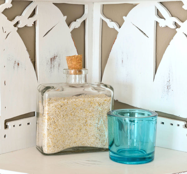 Glass Stoppered Bottle and Aqua Votive