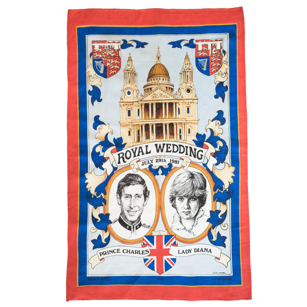 Prince Charles Lady Diana Commemorative Tea Towels Vintage 1981