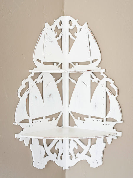 Curio Shelf with Sailboats in Silhouette