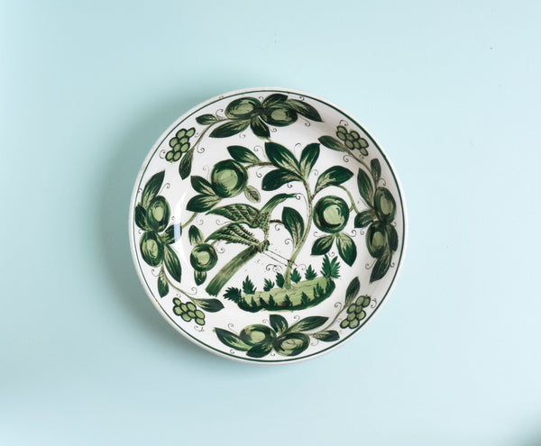 Huge Green and White Hand Painted Ironstone Serving Bowl with Bird in a Tree
