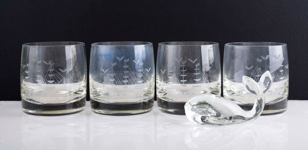 Vintage Tumblers Etched with Ship and a Whale