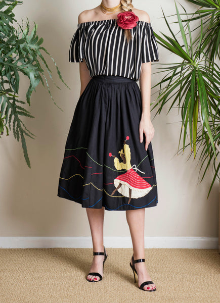 Vintage Dorothy McNab Jamaican Skirt in Black