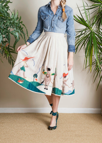 Vintage Dorothy McNab Jamaican Skirt in Cream