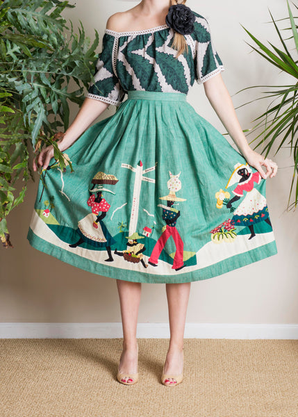 Vintage Dorothy McNab Jamaican Skirt in Green