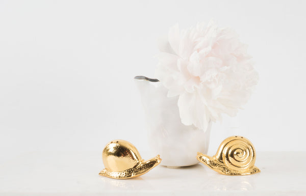 Brass Snail Salt & Pepper Set