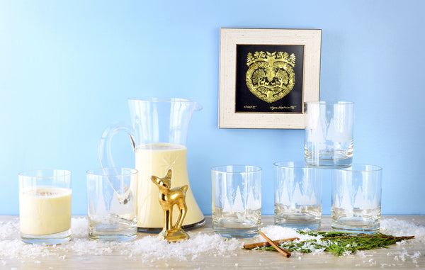 Set of Vintage Snowscape Glassware and Pitcher