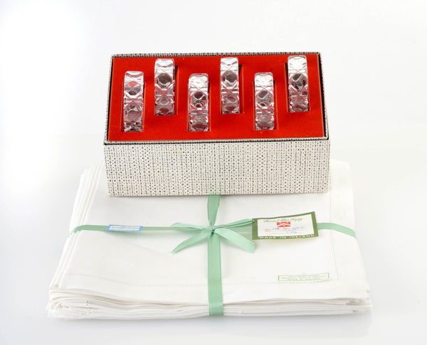 Soigné Linen Napkins from Marshall Field & Company and Cut Glass Napkin Rings