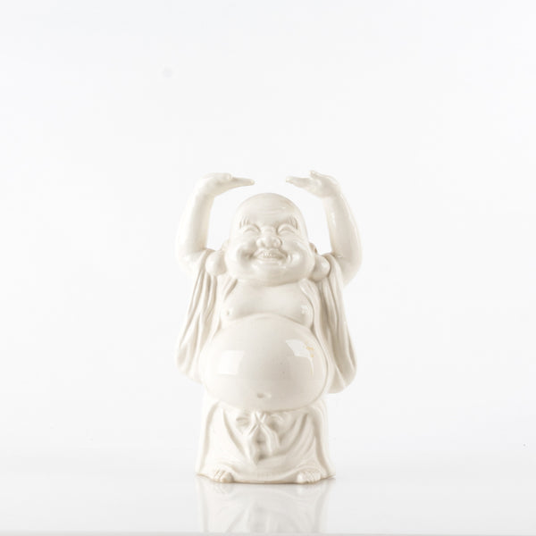 Vintage Happy Standing Buddha in White Porcelain