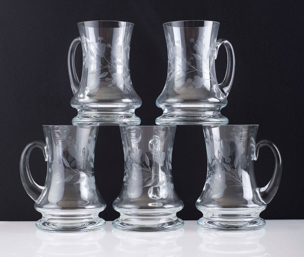 Vintage Etched Crystal Tankards