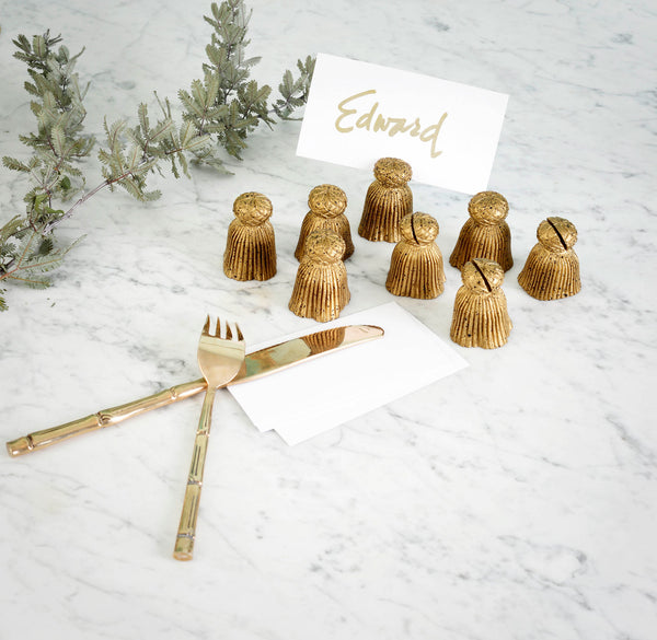 Vintage Gold Tassel Placecard Holders
