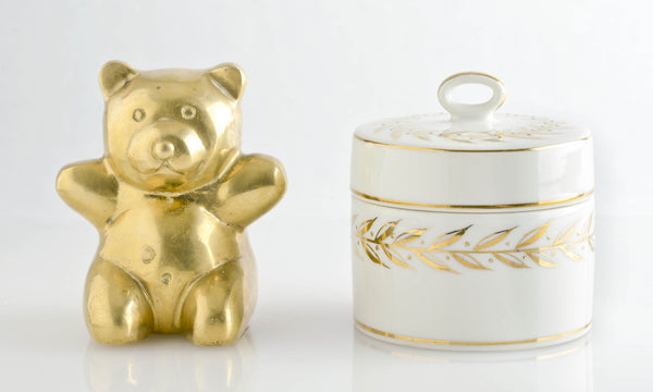 Brass Teddy & Porcelain Toothbox